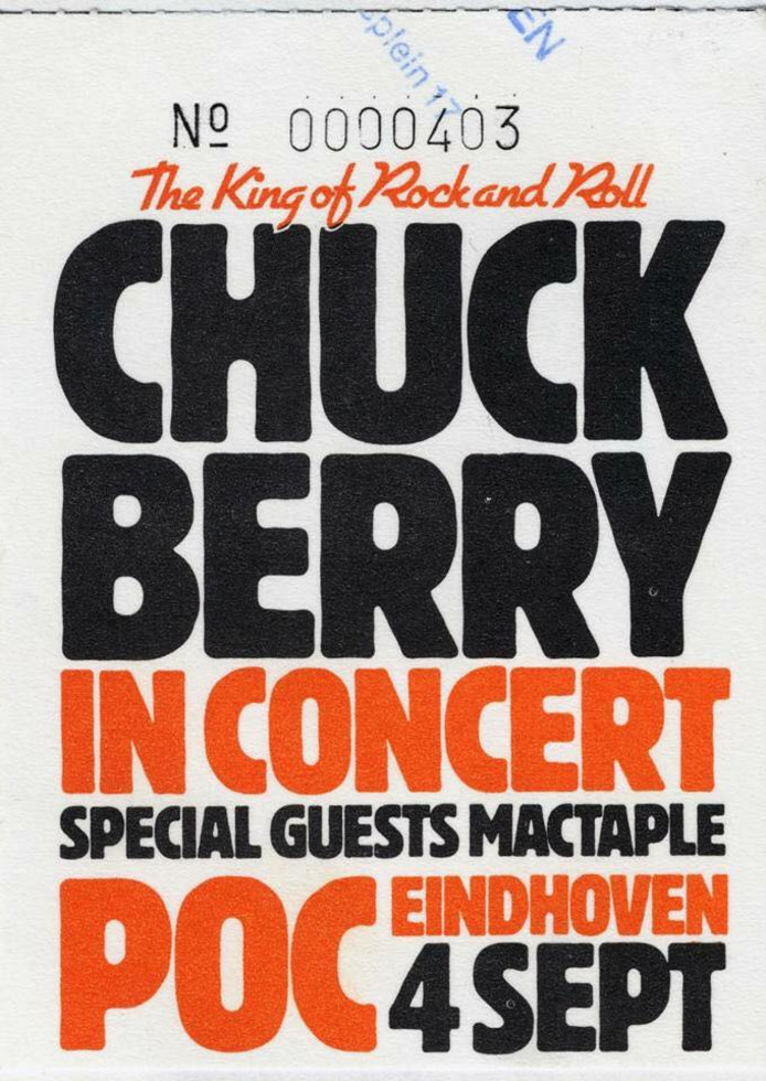 Entrance ticket Chuck Berry Sept 4th Eindhoven